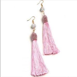 Pink Tassel Fringe Earrings